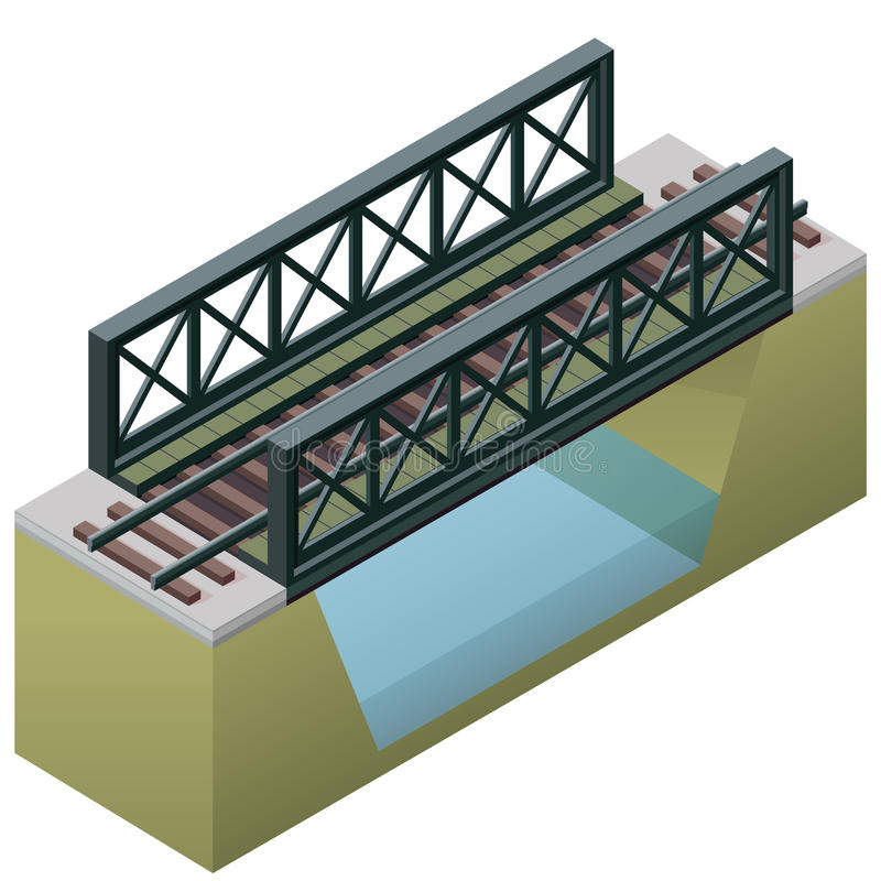 Vector train bridge, isometric 3d perspective, isolated on white background. royalty free illustration