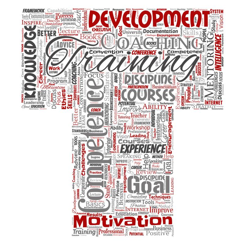 Vector training, coaching or learning, study letter font T word cloud on background. Collage of mentoring, dev royalty free illustration