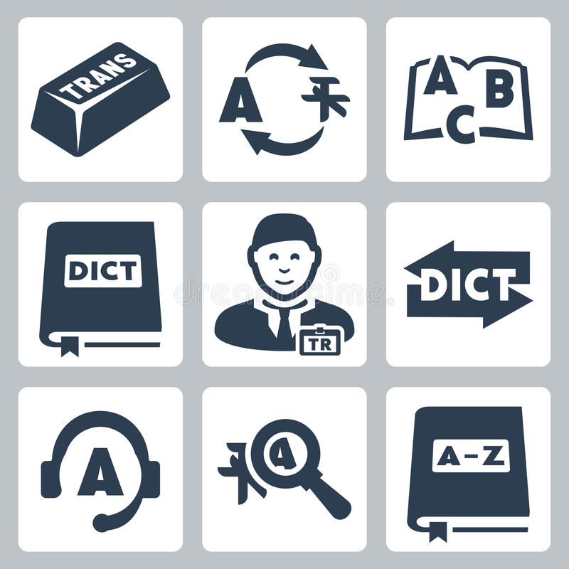 Vector translation and dictionary icons set stock illustration