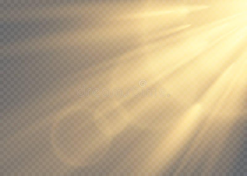 Vector transparant de flits lichteffect van de zonlicht speciaal lens de voorflits van de zonlens Vectoronduidelijk beeld in het  stock illustratie