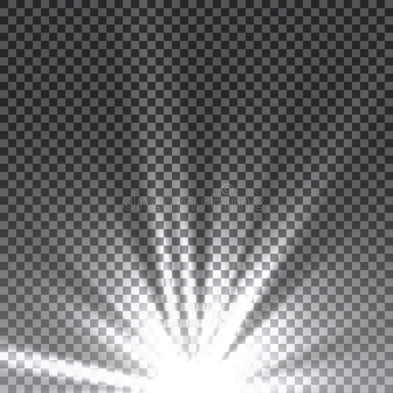 Vector transparant de gloed lichteffect van de zonlicht speciaal lens Zonflits met stralen en schijnwerper stock afbeelding