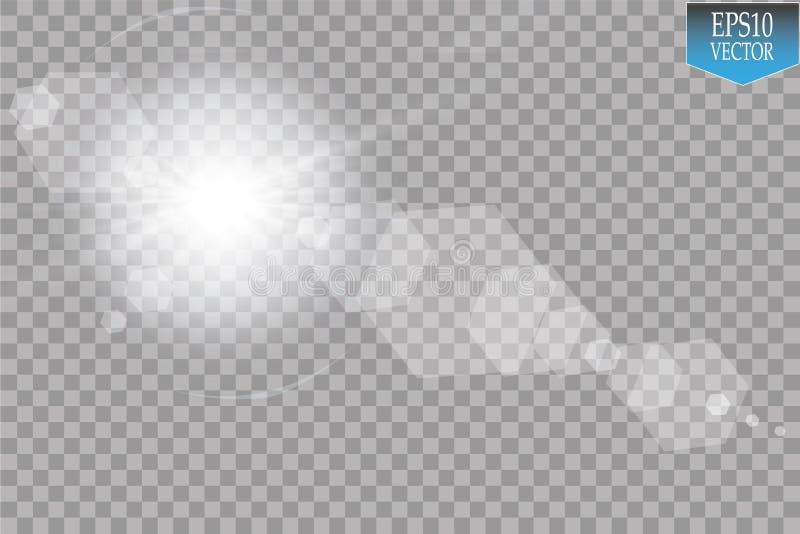 Vector transparant de gloed lichteffect van de zonlicht speciaal lens Zonflits met stralen en schijnwerper royalty-vrije illustratie