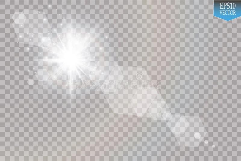 Vector transparant de gloed lichteffect van de zonlicht speciaal lens Zonflits met stralen en schijnwerper stock illustratie