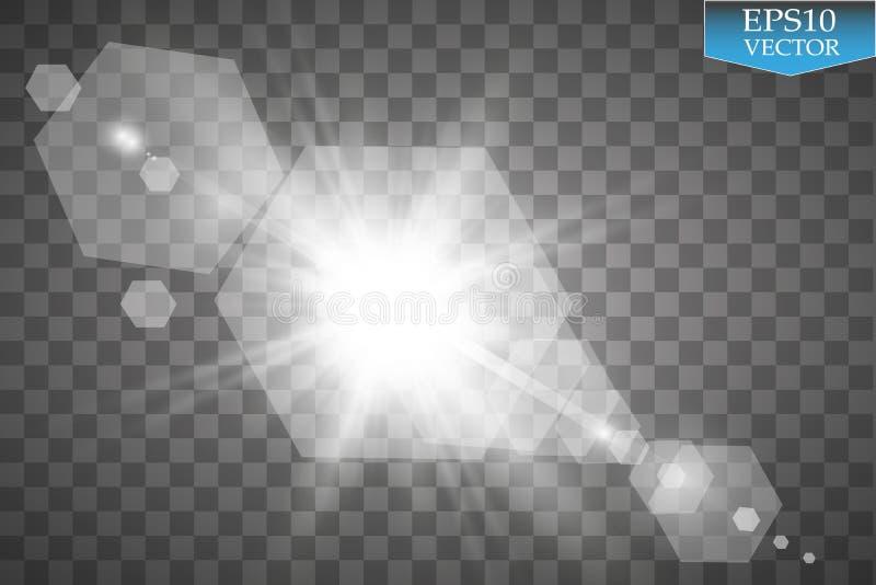 Vector transparant de gloed lichteffect van de zonlicht speciaal lens Zonflits met stralen en schijnwerper vector illustratie