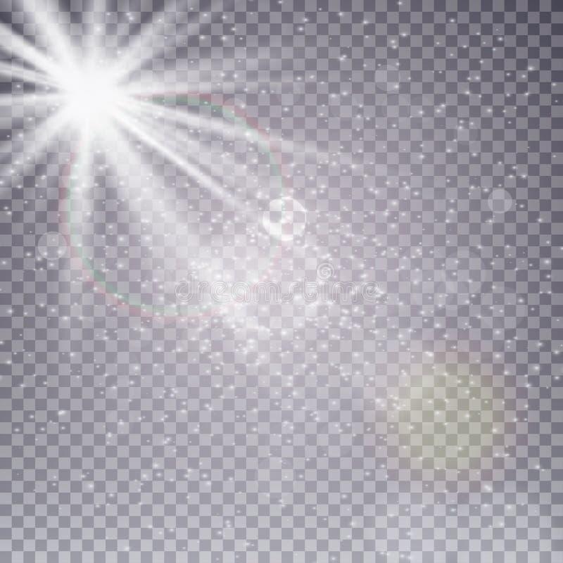 Vector transparant de gloed lichteffect van de zonlicht speciaal lens Zonflits met stralen, sneeuw en schijnwerper royalty-vrije illustratie