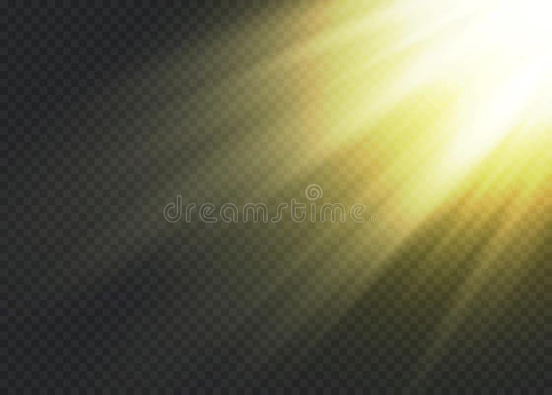 Vector transparant de gloed lichteffect van de zonlicht speciaal lens royalty-vrije illustratie