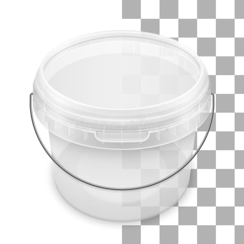 Vector transparante ronde lege plastic emmer met metaalhandvat Hoogste mening stock illustratie