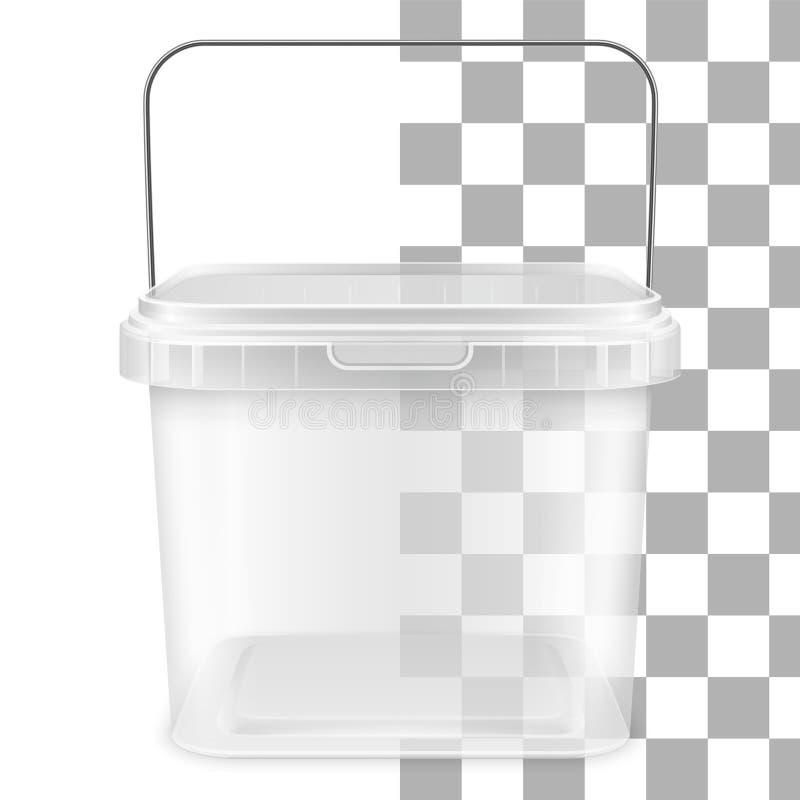 Vector transparante vierkante lege plastic emmer met metaalhandvat Front View stock illustratie