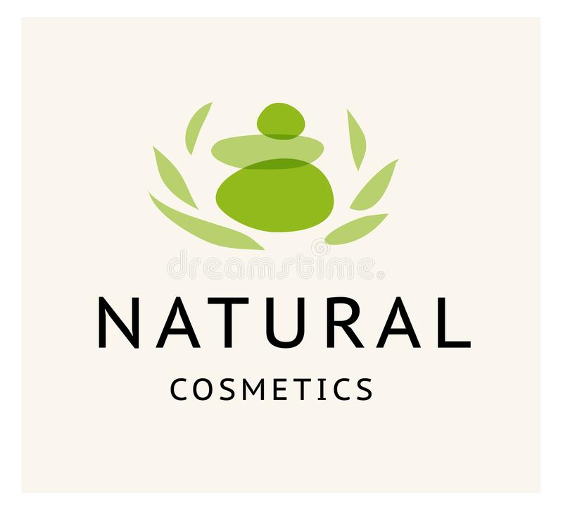 Vector transparent beauty, eco cosmetics and healthy treatment stone and floral symbols in green colors on white backgrou vector illustration