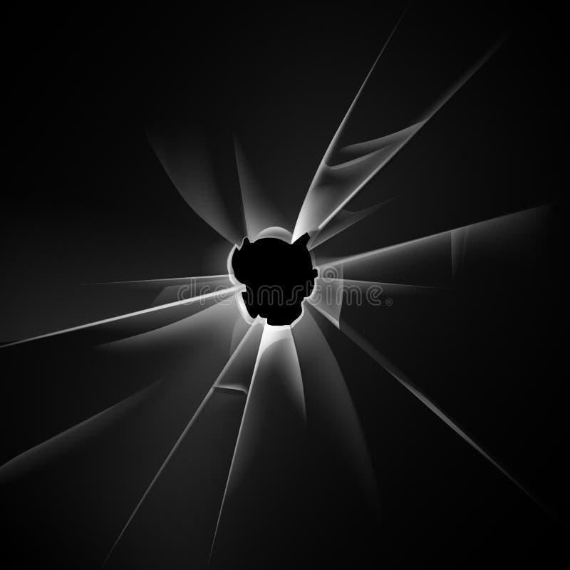 Vector Transparent Broken Glass Window with Bullet Hole on Dark Black Background vector illustration