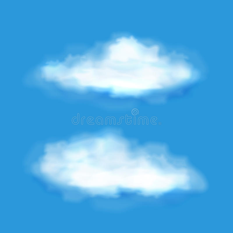 Vector transparent clouds on a blue sky stock illustration