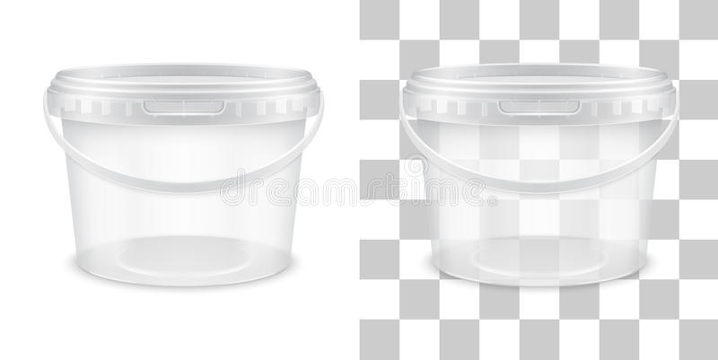 Vector transparent empty plastic bucket for storage royalty free illustration