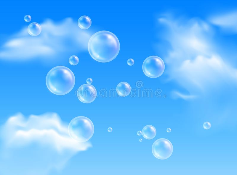 Vector transparent flying soap bubbles on blue sky background with white clouds vector illustration