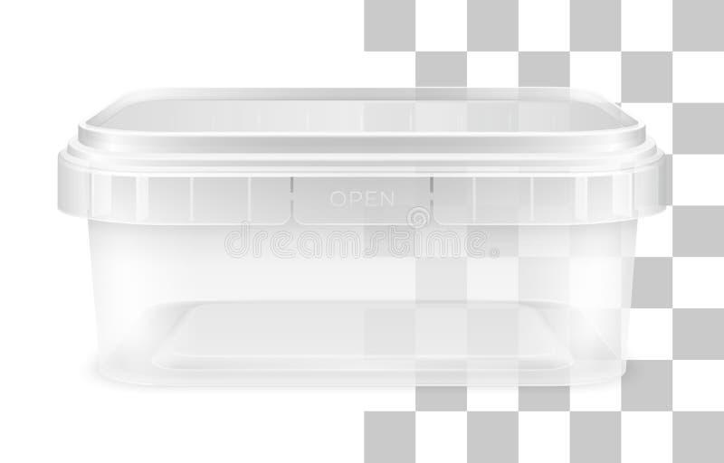 Vector transparent low rectangular empty plastic bucket. Front view royalty free illustration
