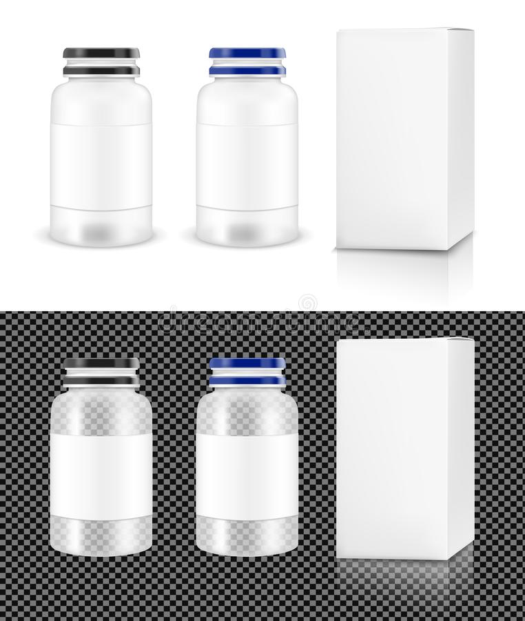 Vector transparent plastic jar with white box for cosmetics and vector illustration