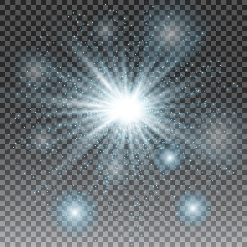 Vector transparent sunlight special lens flare light effect. blue glitter. Star burst with sparkles royalty free illustration