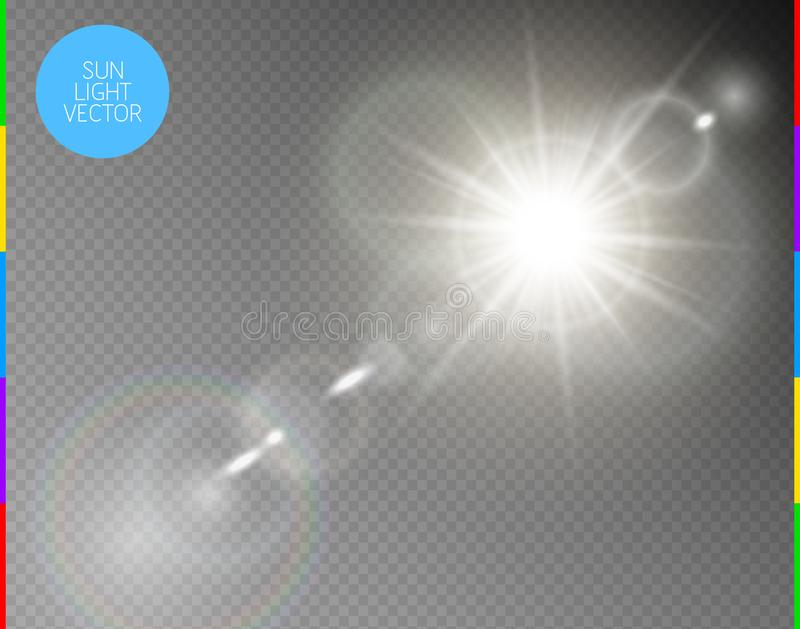 Vector transparent sunlight special lens flare light effect. Isolated sun flash rays and spotlight. White front translucent. Sunlight background. Blur abstract royalty free illustration