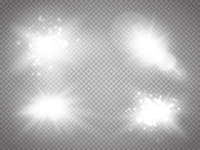 Vector transparent sunlight special lens flare light effect. Sun flash with rays and spotlight. Glow light effect. royalty free illustration