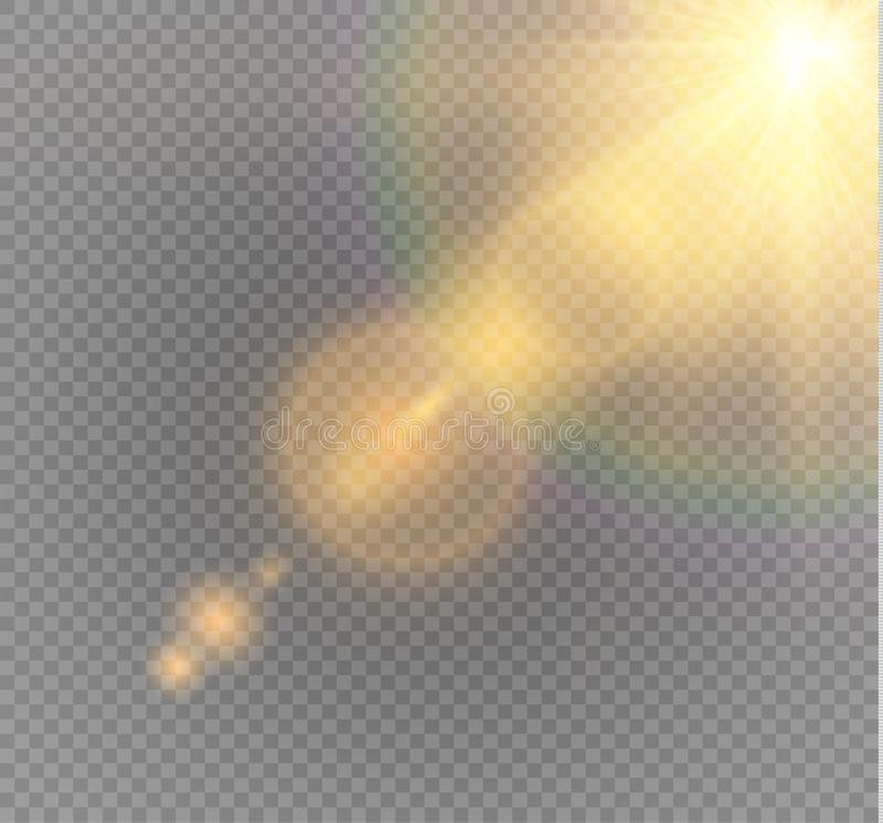 Vector transparent sunlight special lens flare light effect. Sun flash with rays and spotlight. vector illustration