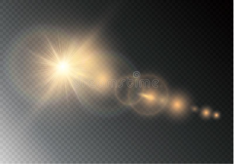 Vector transparent sunlight special lens flare light effect. Sun flash with rays and spotlight. stock illustration