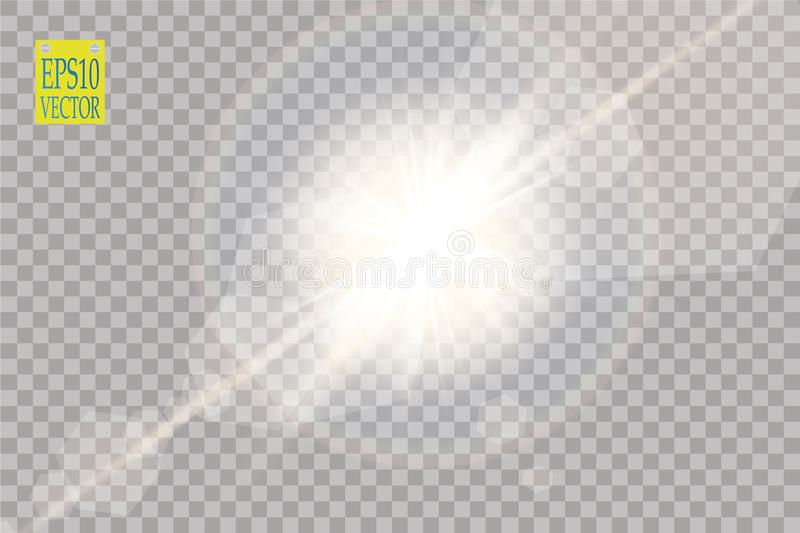 Vector transparent sunlight special lens flare light effect. Sun flash with rays and spotlight royalty free illustration