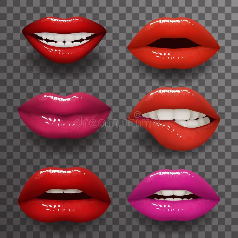 Vector transparente aislado boca levemente abierta elegante del diseño del fondo de la maqueta realista de la moda 3d de los labi stock de ilustración