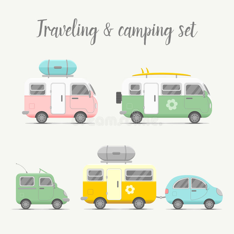 Vector transport caravan set. Types of trailers royalty free illustration