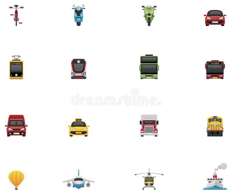 Vector transportation icon set. Set of the simple colorful icons representing different vehicles royalty free illustration