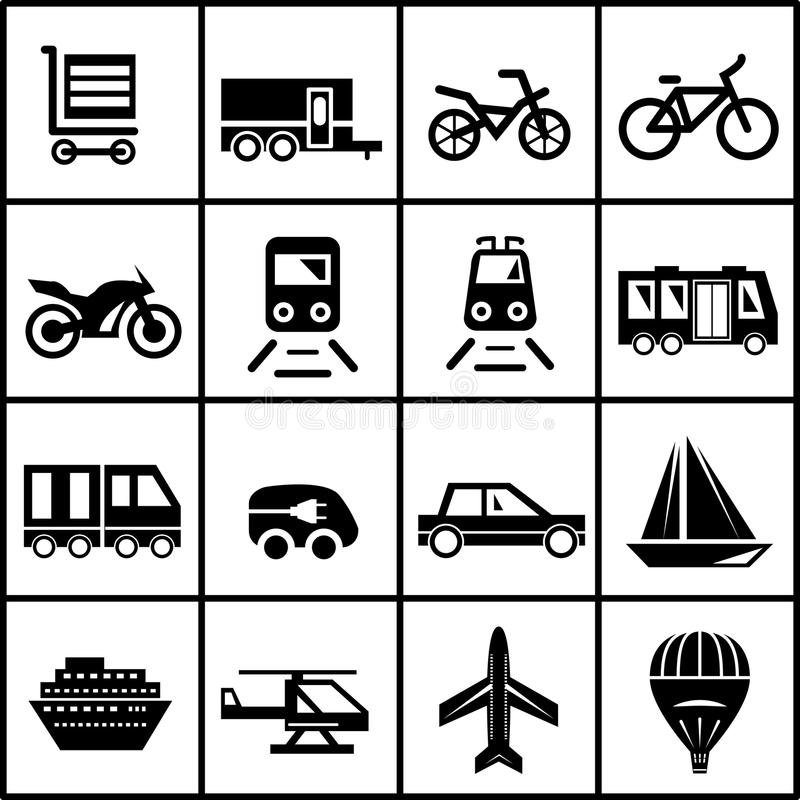 Vector transportation icons isolated on white royalty free illustration