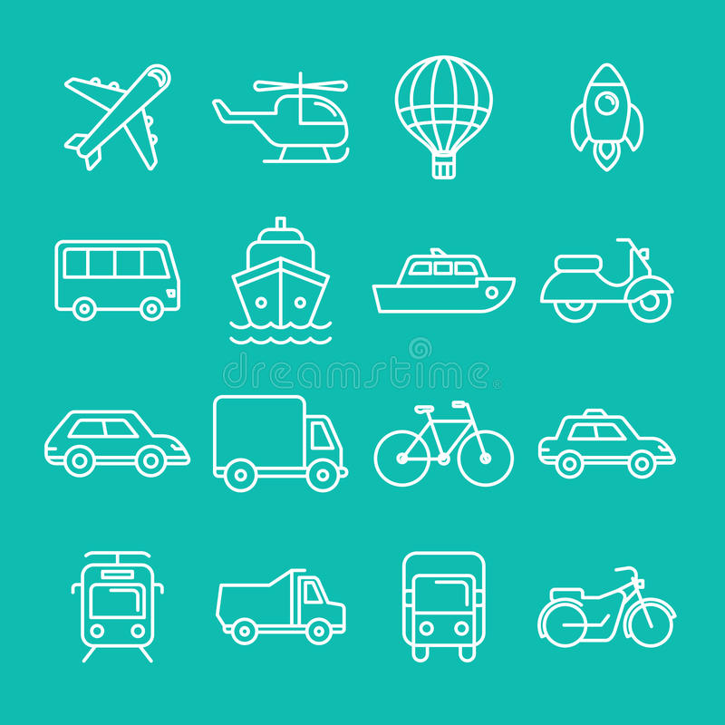 Vector transportation icons and signs royalty free illustration