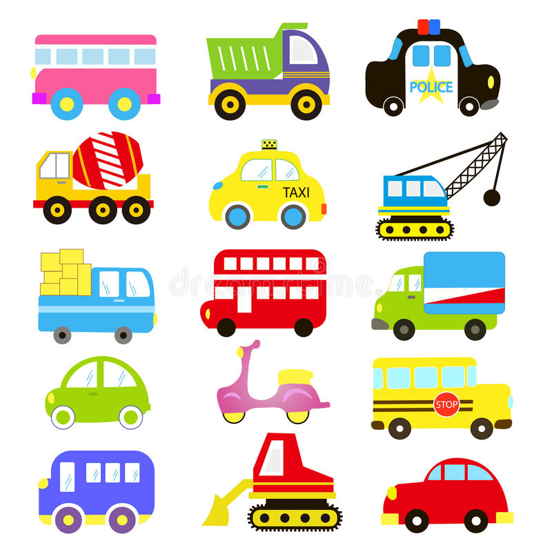 Vector of Transportation theme with Car, Vehicle, truck, taxi, tourist bus, train. A set of cute and colorful icon collection royalty free illustration