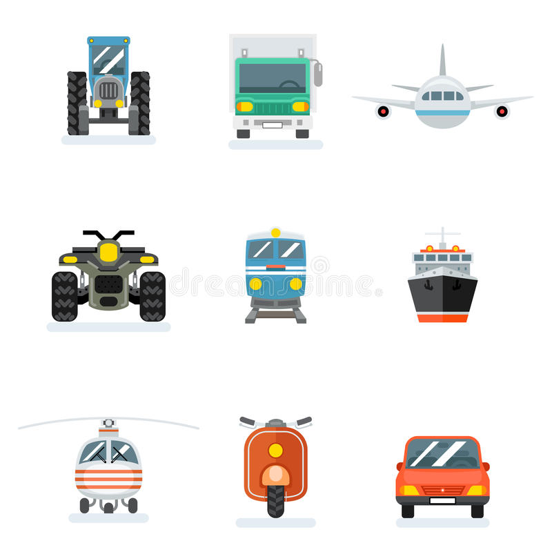 Vector transports flat icons. Car and aircraft, agricultural transport icon freight signs royalty free illustration