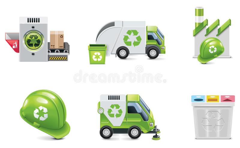 Vector trash recycling icon set stock illustration