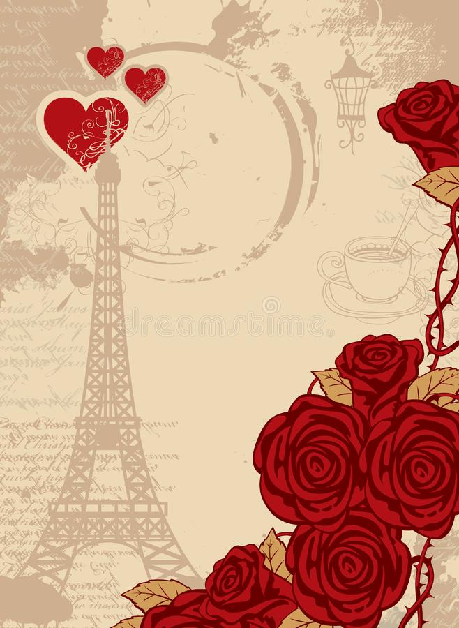 Background with the Eiffel Tower, heart and roses. Vector travel background with place for text with the Eiffel Tower, red heart and roses, cup and the round stock illustration