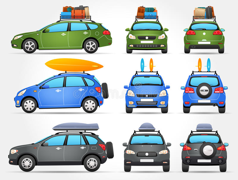 Vector Travel Cars - Side - Front - Back view vector illustration