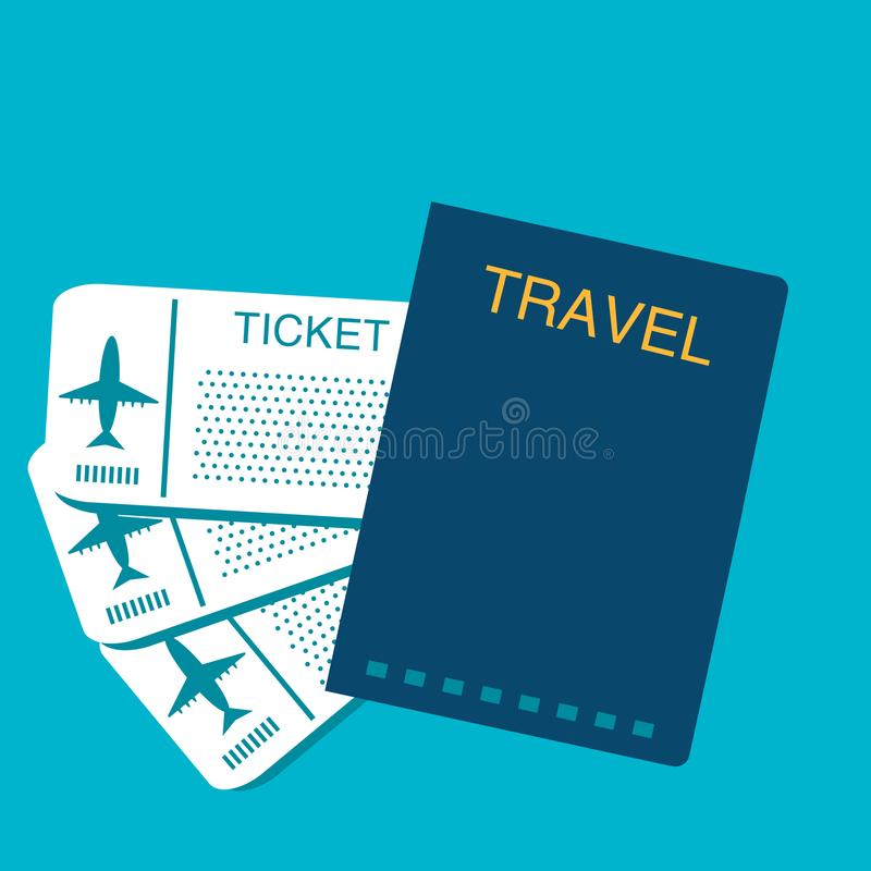 Vector travel document passport for traveling abroad with plane stock illustration