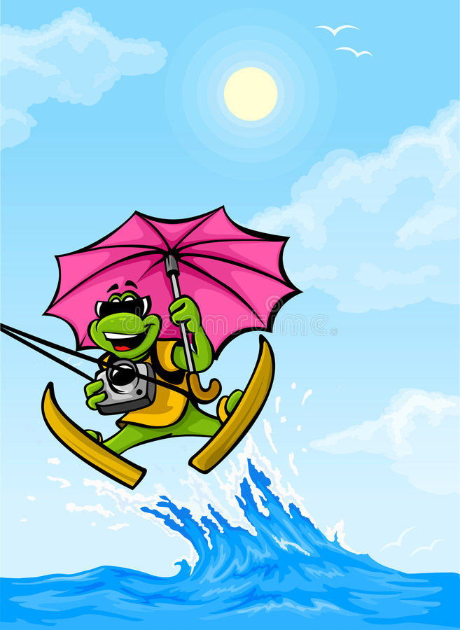 Vector travel frog moving on wave with umbrella royalty free illustration