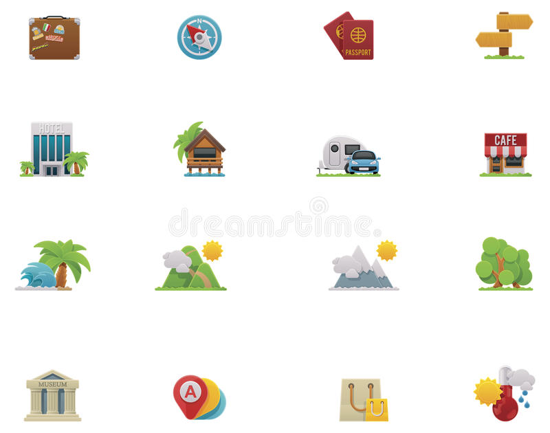 Download Vector travel icon set stock vector. Image of palm, pictogram - 29603633