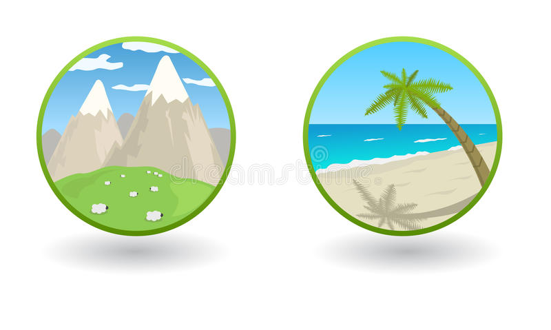Vector Travel Icons With Sea And Mountains Royalty Free Stock Photo