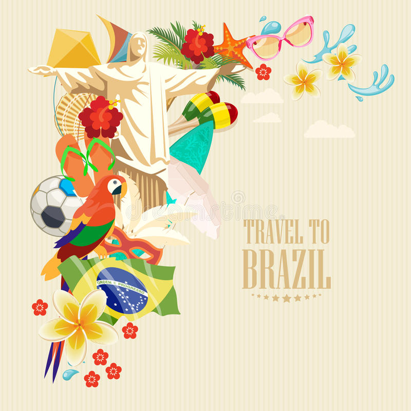 Vector travel poster of Brazil. Poster in vintage style with brazilian symbols vector illustration