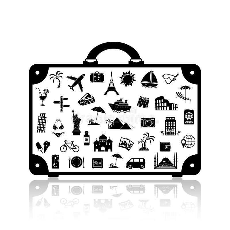 Vector travel suitcase. Tourism symbol stock illustration