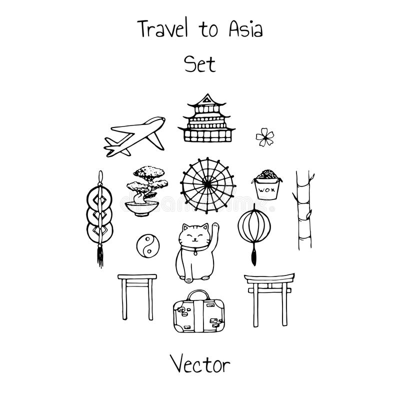 Vector travel to asia set. Includes plane, suitacse and oriental elements contours. Umbrellas, japanese lucky cats, coins, lanterns, bonsai, torii gates royalty free illustration