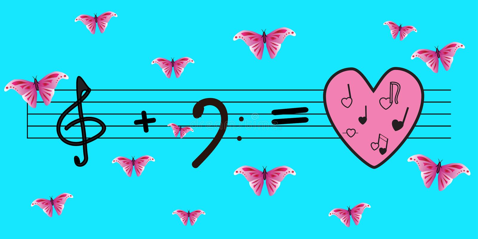Vector: treble clef plus bass key is equal to love and music. Bright blue background and pink butterflies. Love, music, spring stock illustration
