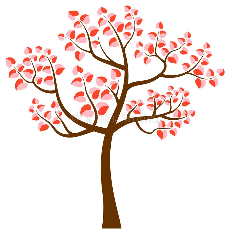 Vector tree with curvy branches and heart shaped leaves royalty free illustration