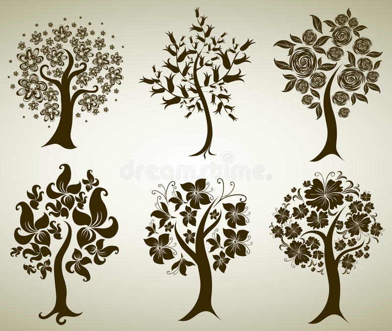 Download Vector tree from flowers stock vector. Image of brown - 16879179