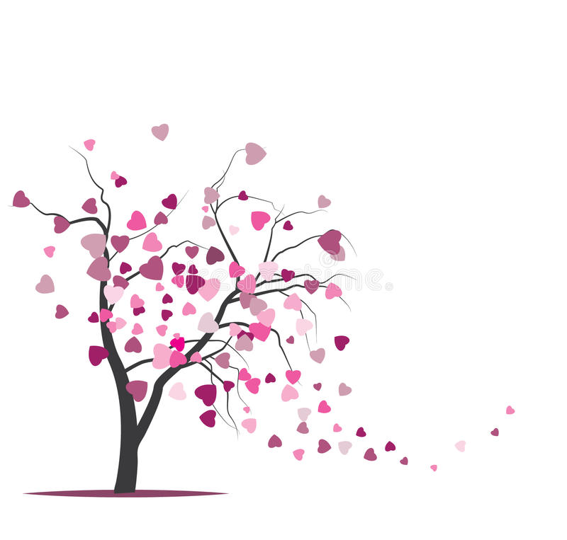 Vector Tree With Harts Stock Images