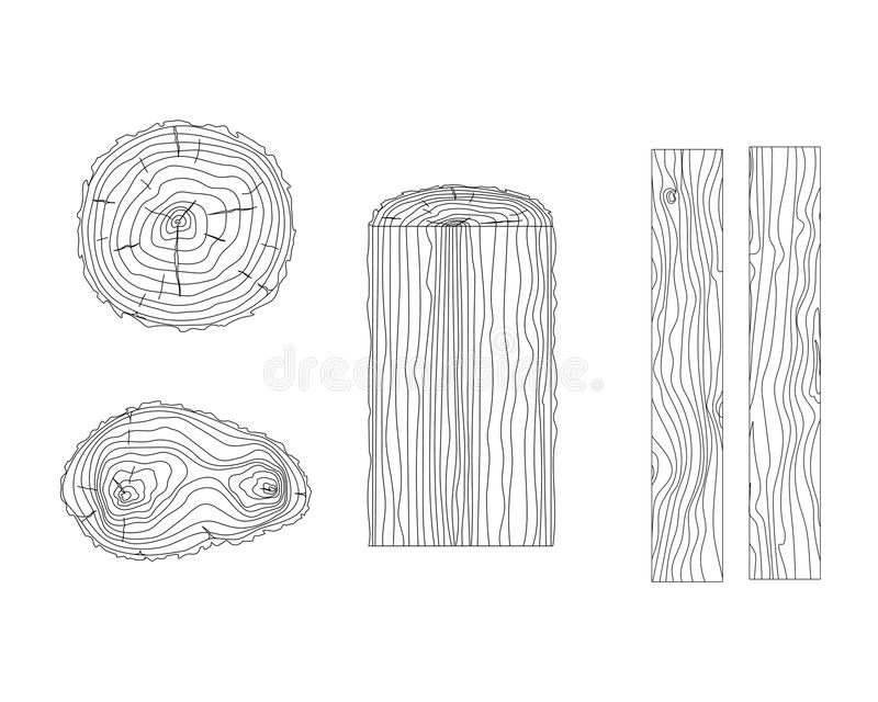 Vector tree rings and timber boards. Isolated circuit. Tree Rings Set Saw Cut Trunk . Set of lumber stock illustration