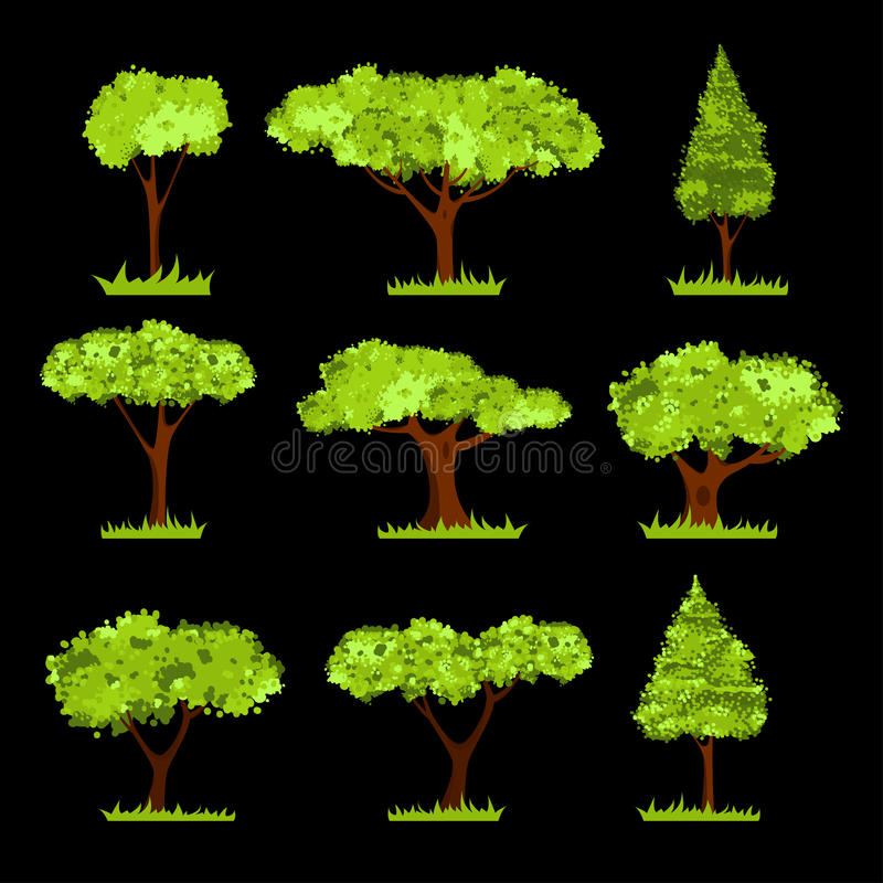 Vector Tree stylized set or collection. Set of different stylized trees. Various types and forms of trees. Vector Illustration. on black. Suitable for architect stock illustration