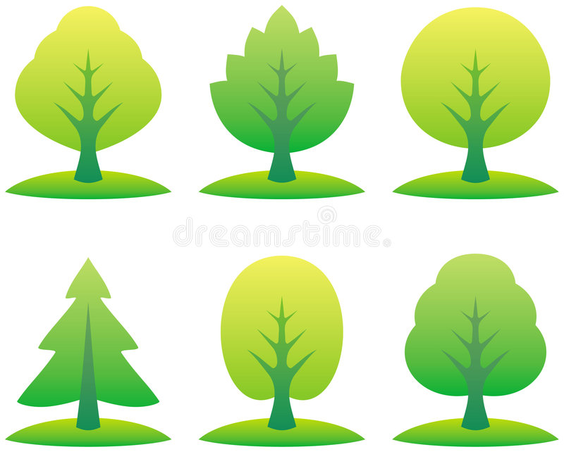 Vector trees illustration. Vector illustrations isolated on white background vector illustration