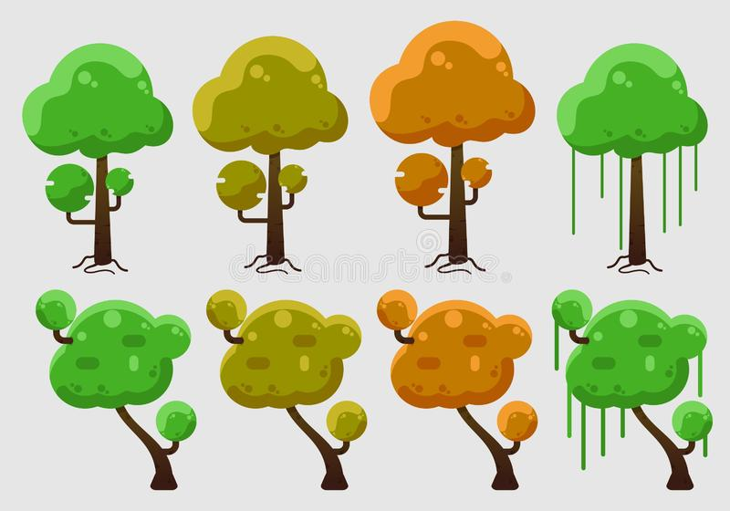 Vector of trees with many colours stock illustration